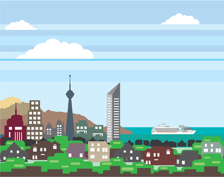 lake district: City near the ocean vector illustration clip-art image