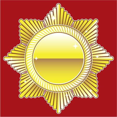 Golden Badge vector royal medal illustration image Illustration