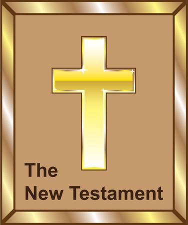 The New Testament vector cross golden book image