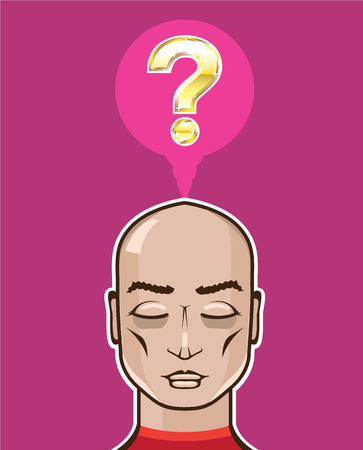unanswered: Golden question mind person vector illustration clip-art image Illustration