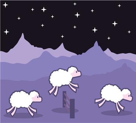 salto de valla: ovejas saltando por encima del tiempo de la cerca noche ilustración vectorial clip-art