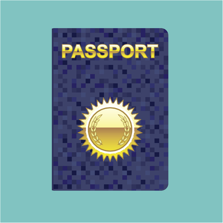 Blue passport vector gold seal illustration clip-art image