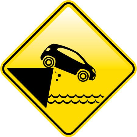 Caution cliff sign vector illustration clip-art image