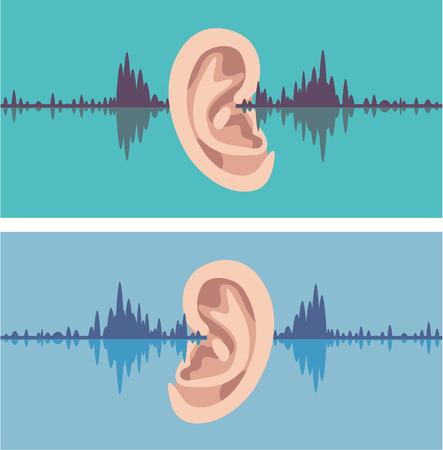 profile measurement: Ear soundwave vector illustration clip-art