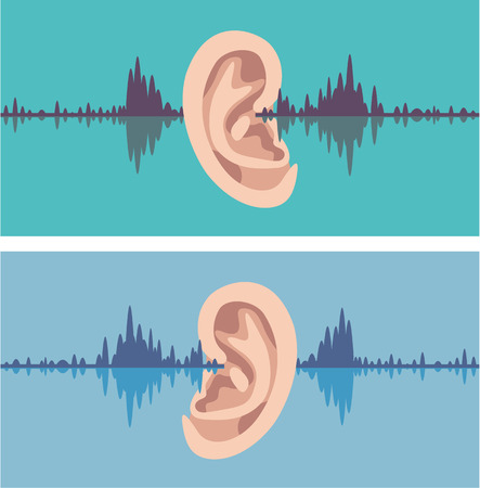 Ear soundwave vector illustration clip-art