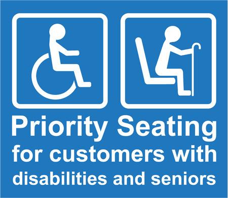 Prioritaire zitplaatsen voor gehandicapten en senioren vector teken illustratie
