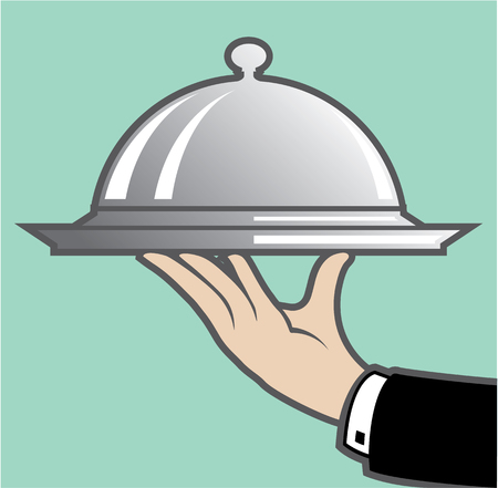 silver ware: Food Dome service illustration clip-art image