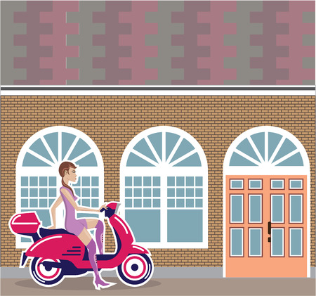 Girl on scooter stopped near cafe building illustration