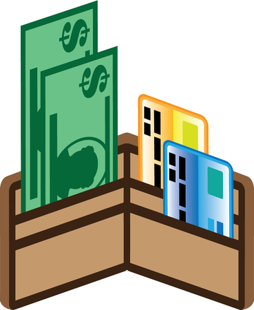 pouch: Filled wallet money cards illustration icon clip-art