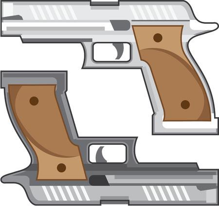 Pistol two colors vector illustration clip-art image Illustration