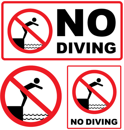 no swimming: No Diving sign red vector illustration clip-art image