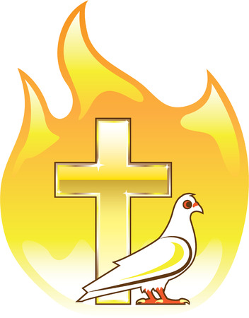 Fire Dove and cross vector illustration clip-art image
