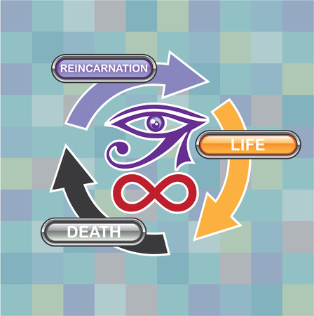 life and death: Reincarnation life death vector illustration clip-art image