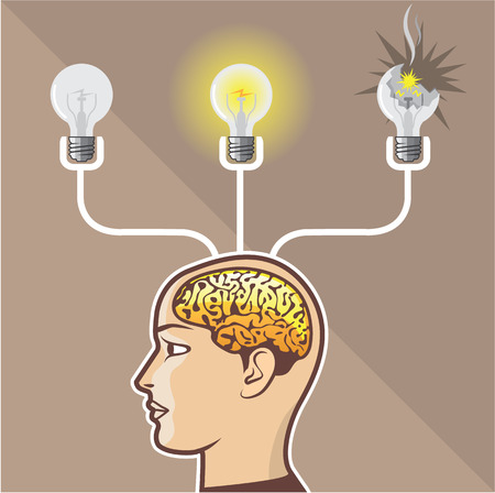 Idea Bulb Brain vector illustration clip-art image