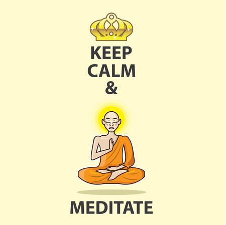 Halten Sie Ruhe und Mönch Vektor-Illustration Clip-Art Bild meditieren Standard-Bild - 71120519