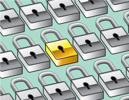 Golden lock selection illustration clip-art image