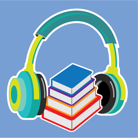 Audio book vector icon headphones illustration clip-art Illustration
