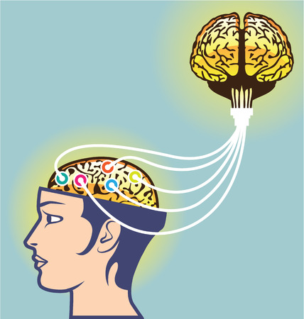 brainwash: Dual Brain power connection vector illustration clip-art image