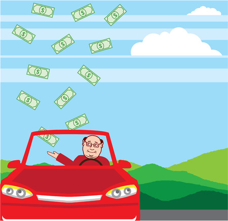 Money Falling in the Car vector illustration clip-art image
