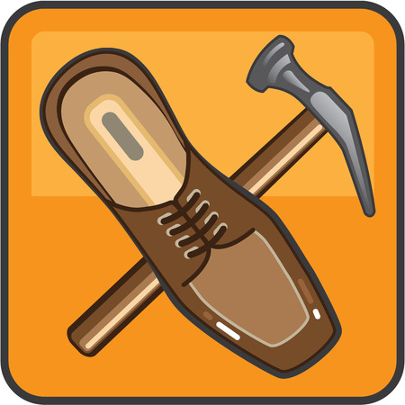 shoe repair: Shoe repair color icon vector illustration clip-art