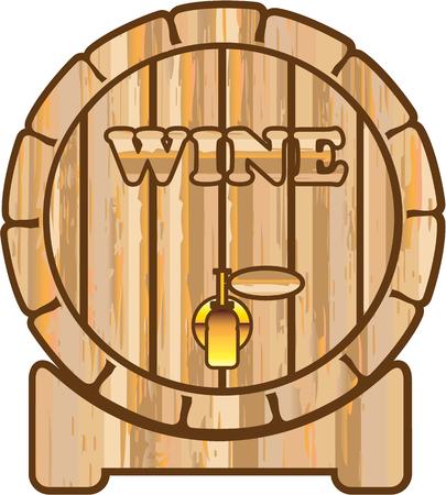 Wine barrel wooden illustration clip-art image