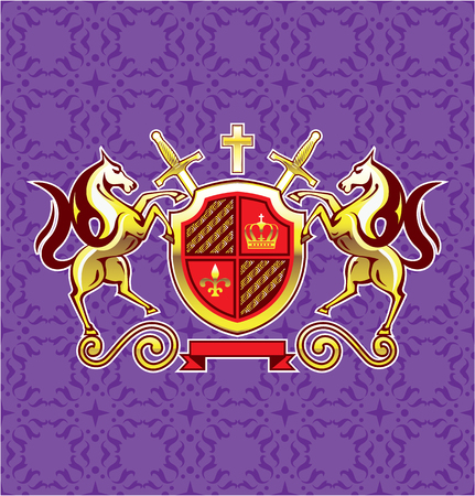 rebellious: Horses gold shield royal vector purple illustration clip-art