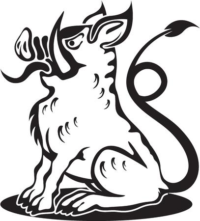 Evil Hog vector illustration clip-art image eps