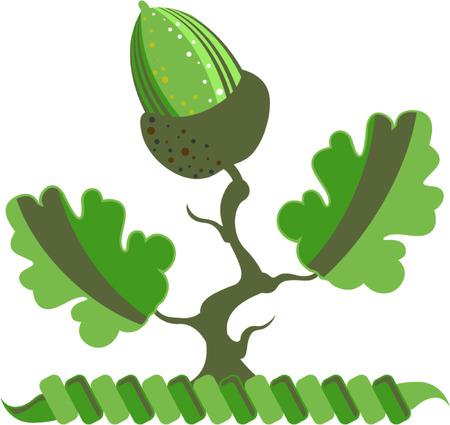 ドングリのベクトル図の緑葉のクリップ アート イメージ  イラスト・ベクター素材
