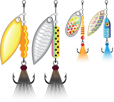 Set of spinners fishing lures vector illustration clip-art image