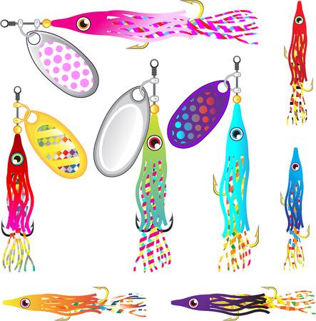trolling: Hoochie Squid Fishing lure Spinners Vectors Trolling lure Illustration