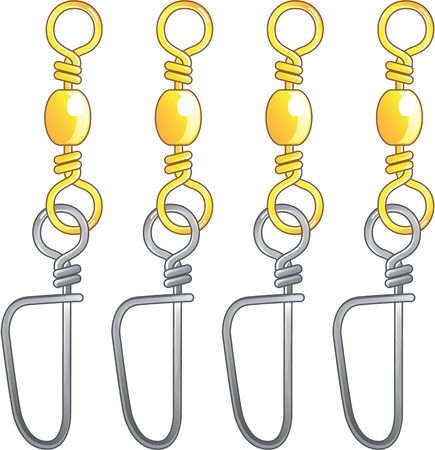 Snap swivels vector illustration fishing tackle items Ilustrace