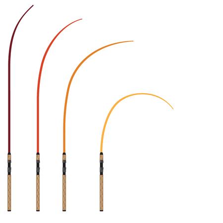 Bent fishing rod vector illustration clip-art technical image Illustration