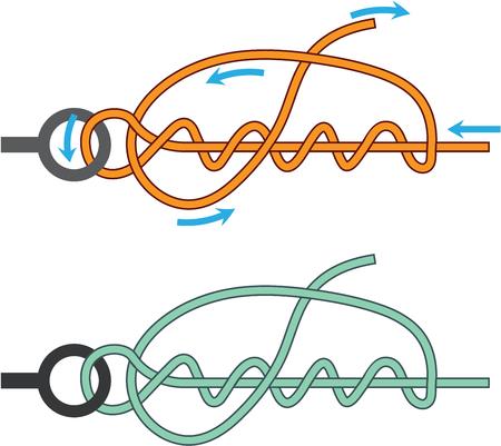 Improved clinch knot diagram two color version illustration Illustration