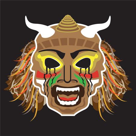 Ritualistic Tribal Mask Vector Illustration