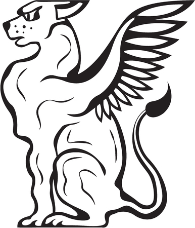 gryphon: Winged Cat creature illustration black vector