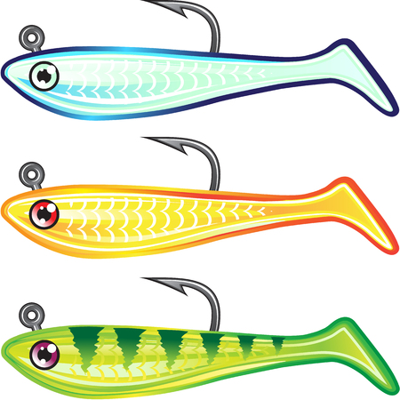 Soft plastic fishing lure bait fish imitation jig Vector illustration