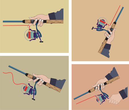 spinning reel: Casting spinning reel with spinning rod positions vector illustration