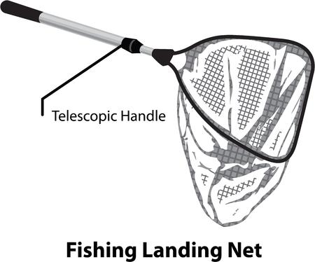 Landing net for fishing illustration marked diagram vector