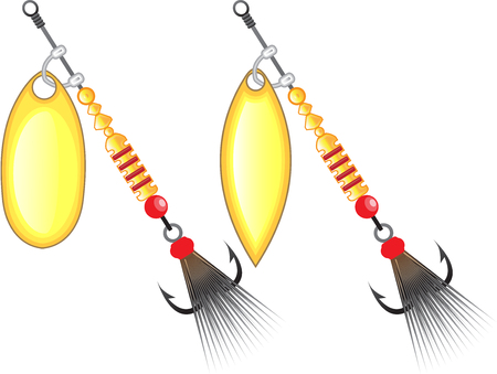 minnow: Golden leaf and oval shape design spinner fishing lure vector