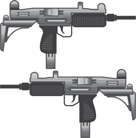Uzi machine gun vector illustration clip-art image Illustration