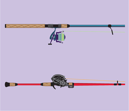Spinning and baitcasting rods with reels handles vector illustration Çizim
