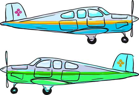 Small private airplane vector sketch illustration clip-art Ilustração
