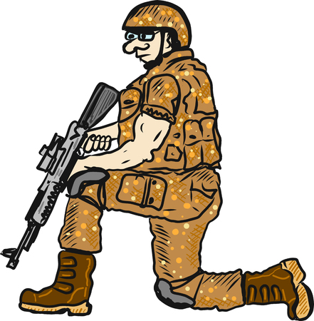Soldier on duty with a rifle sketch illustration clip-art