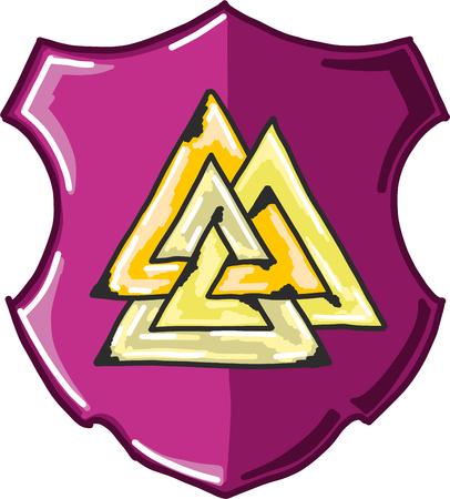 Three triangles shield vector illustration clip-art image
