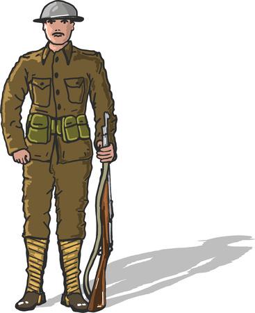historical: World war one us marine soldier vector illustration freehand clip-art