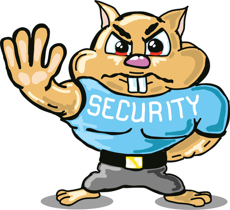 Hamster security guard vector sketch illustraiton clip-art