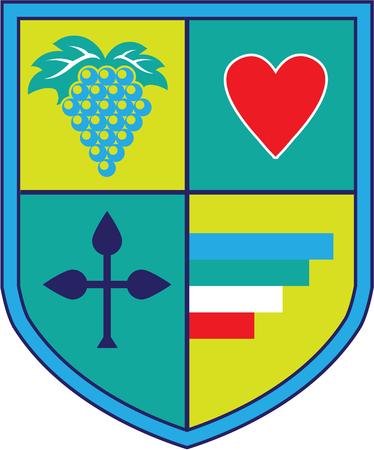 Coat of Arms grapes and heart shield