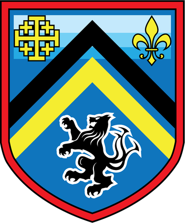 Coat of Arms Dragon Lion 2 stripes vector shield Ilustração