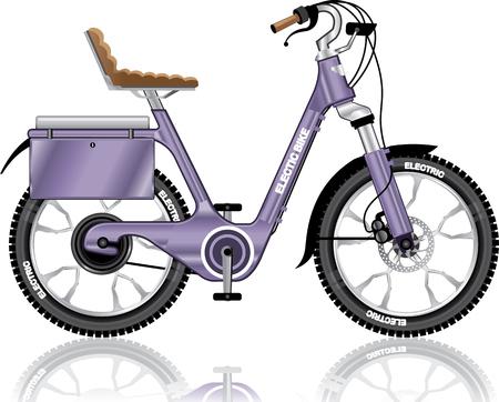 Electric E-bike bicycle illustration
