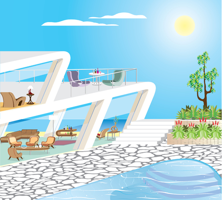 Oceanfront Modern Mansion Illustration Stock Photo